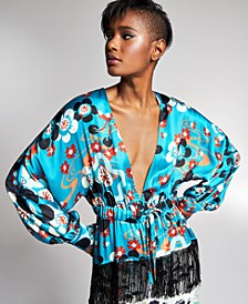 Misa Hylton for INC Beaded Fringe Kimono Blouse, In Regular & Extended Sizes, Created for Macy's