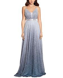 Rhinestone-Trim Ombré Metallic Gown