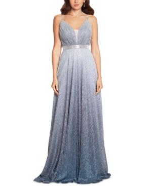 Rhinestone-Trim Ombre Metallic Gown