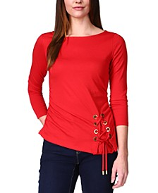 Lace-Up 3/4-Sleeve Top, Regular & Petite Sizes