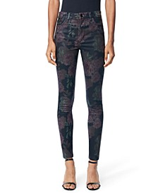 Charlie Coated Floral-Print Skinny Jeans