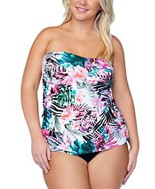 Trendy Plus Size Printed Tankini Top & Bikini Bottoms