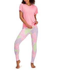 Boyfriend-Fit Sleep Tee & Tie Dyed Bike Shorts, Created for Macy's