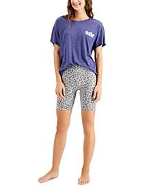 Boyfriend-Fit Sleep Tee & Leopard-Print Bike Shorts, Created for Macy's