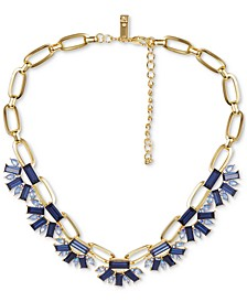 "INC Gold-Tone Link & Multi-Crystal Statement Necklace, 17"" + 3"" extender, Created for Macy's"
