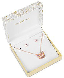 Rose Gold-Tone Multicolor Crystal Butterfly Pendant Necklace & Stud Earrings Set, Created for Macy's