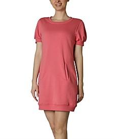 Juniors' Puff-Sleeve Jersey Dress