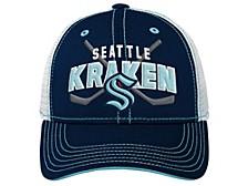 Youth Seattle Kraken Lockup Mesh Adjustable Cap