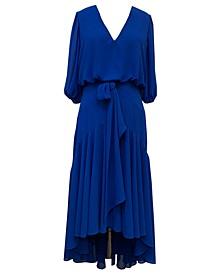 High-Low Chiffon Midi Dress