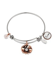 "Rose Gold Two-Tone Crystal ""Grandma"" Flower Bangle Bracelet in Stainless Steel with Silver Plated Charms"