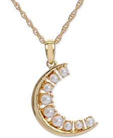 "Cultured Freshwater Pearl Crescent Moon (2-1/2-3mm) 18"" Pendant Necklace in 14k Gold-Plated Sterling Silver"
