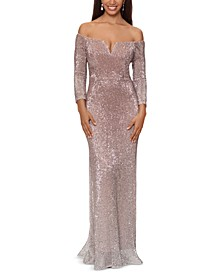Sequin Off-The-Shoulder Gown