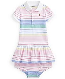 Ralph Lauren Baby Girls Striped Polo Dress Bloomer