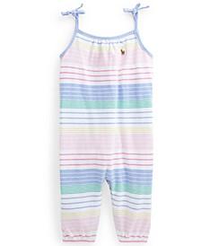 Ralph Lauren Baby Girls Striped Cotton Oxford Romper