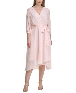 Tommy Hilfiger Dresses PLUS SIZE DOTTED CHIFFON WRAP DRESS