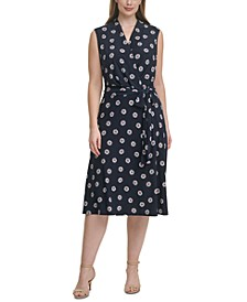 Plus Size Daisy-Print Faux-Wrap Dress