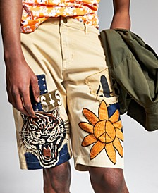 """Ouigi Theodore for Men's Patch Graphic 12"""" Shorts, Created for Macy's"""