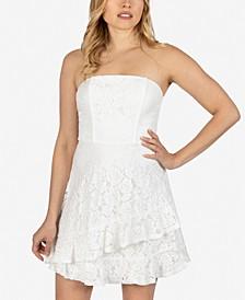 Juniors' Lace Asymmetrical-Ruffle Dress