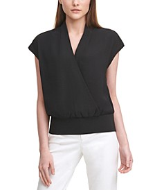 Cap-Sleeve Surplice Blouse