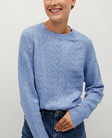 MANGO Women's Openwork Knit Sweater