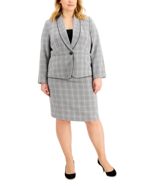 Plus Size Plaid Houndstooth Skirt Suit