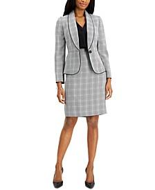 Petite Plaid Houndstooth Skirt Suit