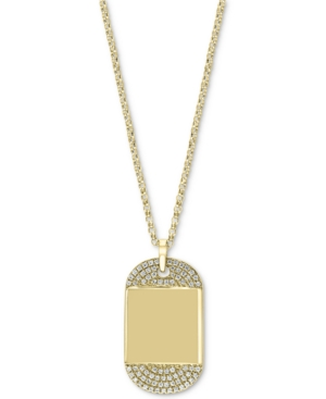 """Effy Diamond Dog Tag 18"""" Pendant Necklace (1/6 ct. t.w.) in 14k Gold"""