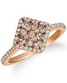 Vanilla Diamond & Chocolate Diamond Cluster Ring (7/8 ct. t.w.) in 14k Rose Gold