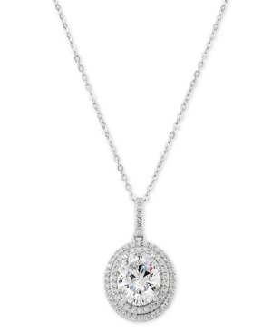 """Cubic Zirconia Double Halo 18"""" Pendant Necklace in Sterling Silver"""