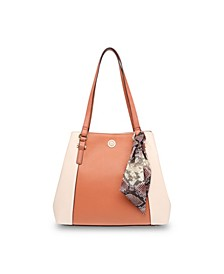 Colorblock 4 Poster Shoulder Bag with Detachable Scarf