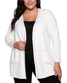 Black Label Plus Size Embellished Long Sleeve Pocketed Cardigan