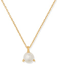 "Gold-Tone Imitation Pearl 3-Prong Pendant Necklace, 15"" + 3"" extender"