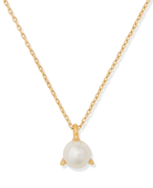 """Kate Spade GOLD-TONE IMITATION PEARL 3-PRONG PENDANT NECKLACE, 15"""" + 3"""" EXTENDER"""