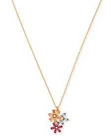 "Gold-Tone Multicolor Cubic Zirconia Flower Cluster Pendant Necklace, 17"" + 3"" extender"