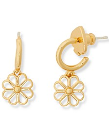 Gold-Tone Flower Charm Huggie Hoop Earrings