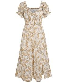 Paisley-Print Smocked-Waist Dress