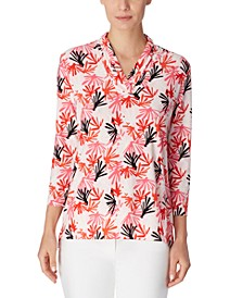 Printed Triple-Pleated V-Neck Top