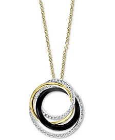 "EFFY® Diamond (1/2 ct. t.w.) & Onyx (2-1/5mm) 18"" Pendant Necklace In 14k Multi Gold"