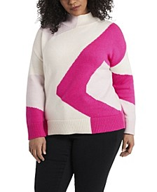 Women's Plus Size Intarsia Mock Neck Sweater