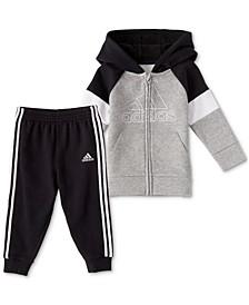 Baby Boys 2-Pc. Colorblocked Logo Hoodie & Athletic Pants Set