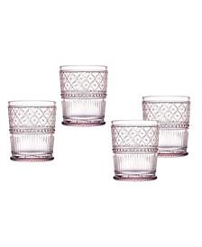 Claro Set of Four 4 Double Old Fashion Glasses, 12 oz
