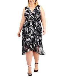 Plus Size Printed-Mesh Maxi Dress