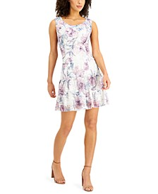 Petite Printed Lace Tiered-Ruffle Fit & Flare Dress