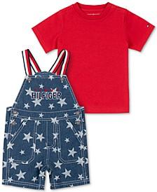 Baby Boys 2-Pc. T-Shirt and Stars-Print Denim Shortalls Set
