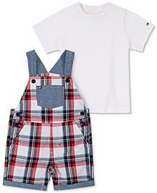 Baby Boys 2-Pc. T-Shirt & Plaid Shortalls Set
