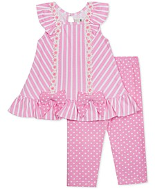 Baby Girls 2-Pc. Striped Tunic & Dot-Print Leggings Set