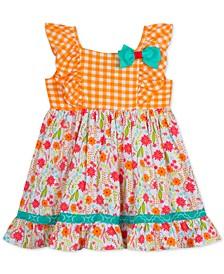 Baby Girls Check & Floral-Print Dress