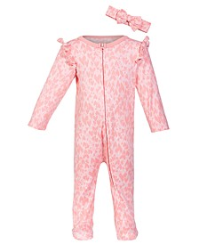 Baby Girls 2-Pc. Cotton Heart-Print Coveralls & Headband Set, Created for Macy's