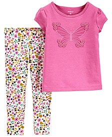 Toddler Girls 2 Piece Butterfly Jersey Tee Legging Set