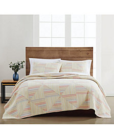 Martha Stewart Collection Flora Fauna Yarn Dye Patchwork 100% Cotton King Quilt, Created for Macy's